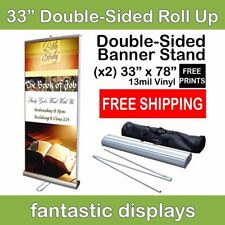 "Double Sided 33"" Retractable Banner Stand with Vinyl Prints for Trade Show Booth"