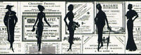 Vintage Women / Ladies Silhouettes News Ads / Newspaper Wallpaper Border PA5651B