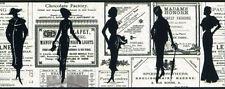 Vintage Women / Ladies Silhouettes News Ads / Newspaper Wallpaper Border PA5651B
