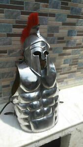 MUSCLE JACKET Medieval With Corinthian Helmet Armor Silver Finish With Red Plume