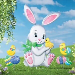 3 Piece Easter Bunny and Chicks with Eggs Metal Garden Stakes