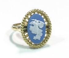 Wedgwood Ring - Jasperware Cameo Set Onto Gold Plated Adjustable Ring