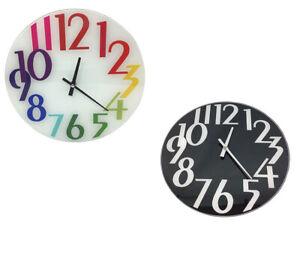 Orologio in vetro da parete con quadrate rotondo orologi analogico colorato