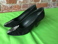 Vintage  Moda In Pelle  Black Silver Leather Shoes Size 39 6 80's 40's