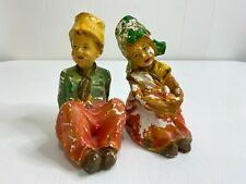 Vintage 1940s Beautiful Old Chalkware Plaster Boy and Girl figurine statue
