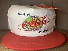 Vintage World of Coca Cola Las Vegas 1996White Hat Cap Snapback USA w/ Tag RARE