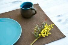 Table Mat 100% Linen Solid Brown, Handmade Rustic and Natural Placemat