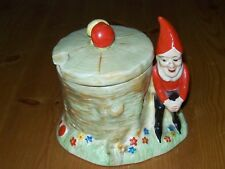 Art Deco,Crown Devon,Preserve Pot,Gnome/Dwarf Tree Trunk,Toadstools,Hand Painted