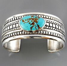 Modern Solid Sterling Silver Turquoise Cuff Bracelet