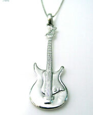"Solid 925 Sterling Silver Electric Guitar Pendant with 16"" Silver Chain Necklace"