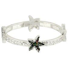 Starfish Fashionable Stretchable Bracelet - Abalone Paua Shell - Silver Plated