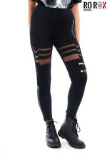 Chemical Black Punk Gothic Inka See-through Lace Zipper Long Leggings Pants