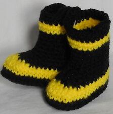 Custom Handmade Crochet Baby Infant Black & Yellow FIREMAN FIREFIGHTER Booties
