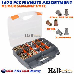 1670 Pcs Rivnut Tool Rivet Nut M3 - M12 Blind Rivnuts Nutsert Assortment