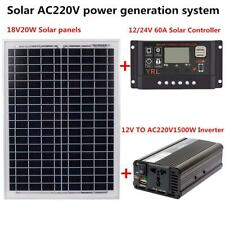AC220V 1500W Solar Panel Kit Controller Inverter Home Battery Solar Power System