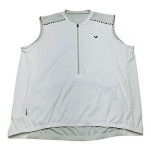 Bontrager Mens Solstice Cycling Jersey White Sleeveless 1/2 Zipper Crew Neck XL