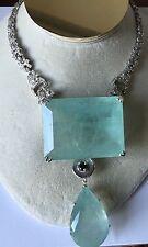 Rare Gigantic Huge 495.1ct aquamarine, diamond Platinum choker necklace 14-15 in