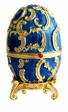 """Réplique œuf de Fabergé """" La Boite """" Bleu et Or fabrication artisanale"""