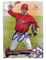Connor Seabold signed auto autograph 2017 Bowman Draft rookie card Phillies