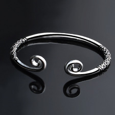 925 Sterling Silver Unisex Hoops Carved Bangle Cuff Wristband Bracelet Jewelry