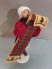 Byers Choice 2000 Boy with Toboggan Wearing Red Sweater 59/100 limited signed