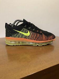 Nike Flyknit Max Black Atomic Orange Volt Taglia 43 Tn 90 270