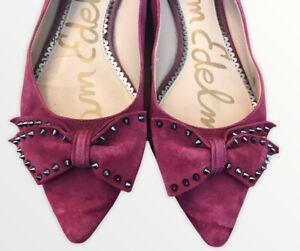 Sam Edelman Women's 8.5 M Pink Suede Leather Studded Bow Fuchsia Flats  Vtg