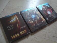 IRON MAN 1-3 TRILOGY Blu-Ray RARE oop THREE SteelBook set MARVEL Robert Downey