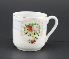 M.B. Made in Occupied Japan Floral Red Pink Rose Motif Blue Band Desing Tea Cup