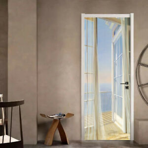 Modern Art 3D Door Sticker Self-adhesive Removable PVC Door Decal 77x200cm E