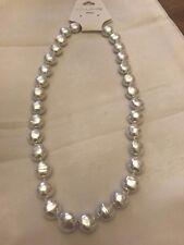 """18"""" 12 mm piatto rotondo colore Bianco SHELL Collana di perle"""