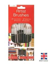12Pc ARTIST PAINT BRUSHES SET Professional Brush Set OIL ACRYLIC WATERCOLOUR UK