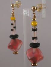 Statement Hand Made Vintage Czech Glass Bead Dangle Earrings Mod Colors