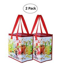 Insulated Reusable Grocery Bag Shopping Tote w/ Zipper Top Lid (SET OF 2)