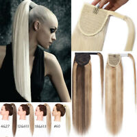 Thick 100% Real Clip In Wrap Around Human Hair Extensions Ponytail Hairpiece USA