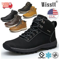 Mens Waterproof Leather Hiking Boots Snow Outdoor Warm Fur Winter Ankle Shoes US