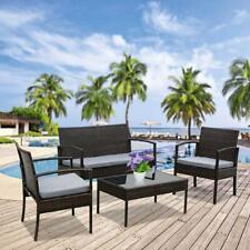 Oshion 4PC Rattan Wicker Patio Conversation Sofa Table Set Outdoor Furniture