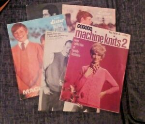 Collection of 5 assorted Machine Knitting Patterns by Lister ,Patons and Sirdar