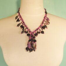 """18"""" Classic Vintage Short Tassel Purple Pink Handmade Seed Bead Necklace"""