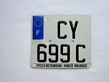 FRANCE MOTORCYCLE Vintage License Plate # CY 699C