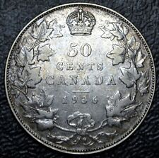 OLD CANADIAN COIN 1936 - 50 CENTS - .800 SILVER - George V - Nice
