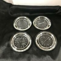 Set of 4 Vintage Clear Depression Glass Coasters