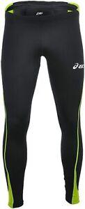 Asics Men's Running Tights Winter Tight Lasse Sports Tights - Black/Green - New