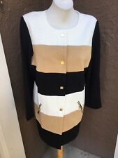 New $169 Chico's Black Neutral Colorblock Statement Topper Jacket 2 L 12 14 NWT