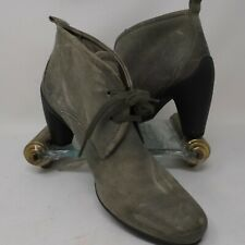 ECCO Womens 37 6 6.5 Grey Sculptured  Leather Booties Lace Up Heel Oxfords