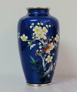 Fine Japanese Blue Wireless Cloisonne Vase Prunus