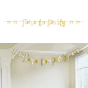 Gold Foil 'Time to Party' Banner Garland party Decoration Post Lockdown Bunting