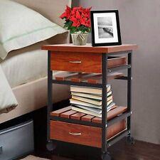 Koreyosh Rolling Bedside Table 2Drawers Wood Nightstand Storage End Table Wheels