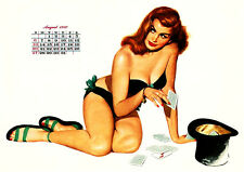 1950 August Pinup Girl Calender  8 x 10  Giclee Print