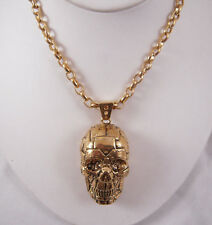 """Rivet Skull Pendant Necklace 28"""" Han Cholo Gold Plated Stainless Steel"""